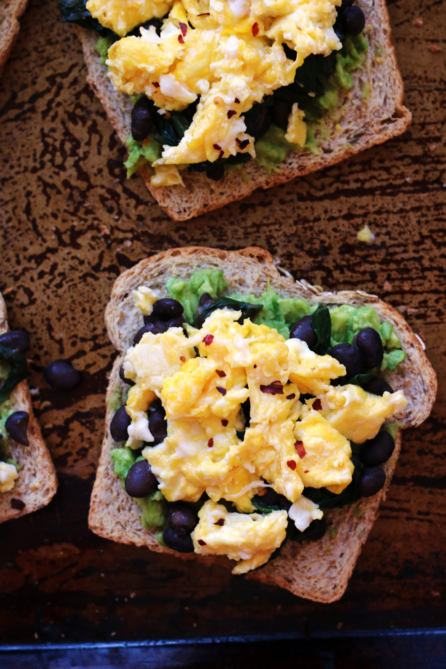 Avocado Toast with Smoky Black Beans, Spinach, and Eggs