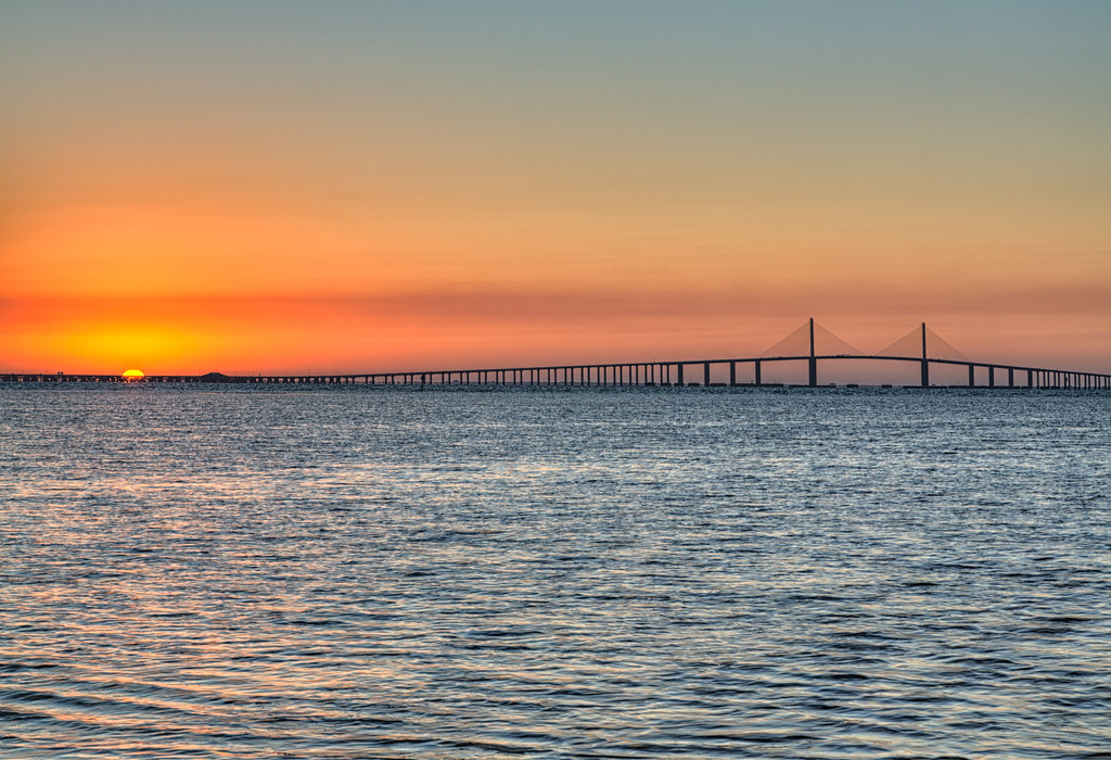 Sunrise over the skyway bridge fishing pier sunrise over for Skyway fishing report