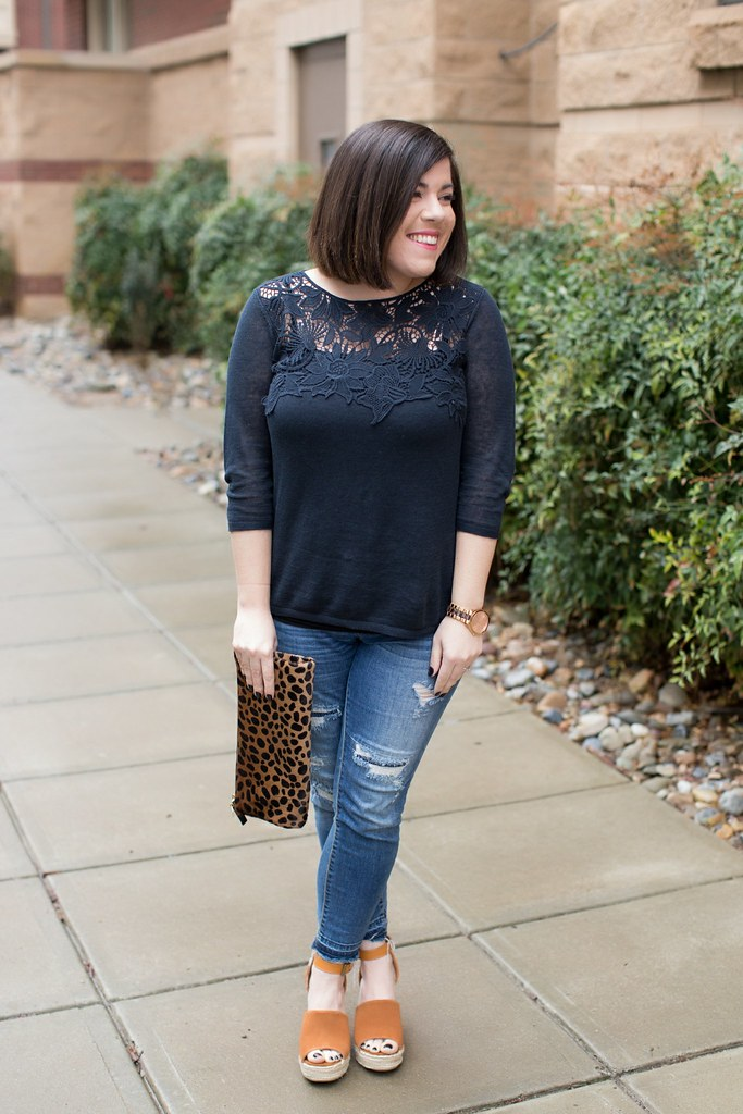 Navy Lace Top-@headtotoechic-Head to Toe Chic