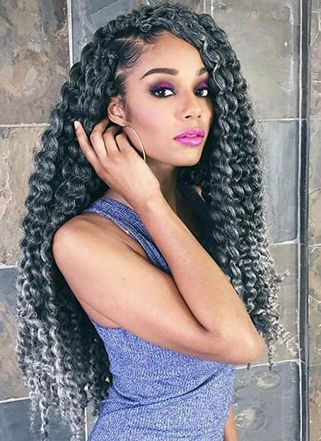 Long Crochet Braids with Silver Hues