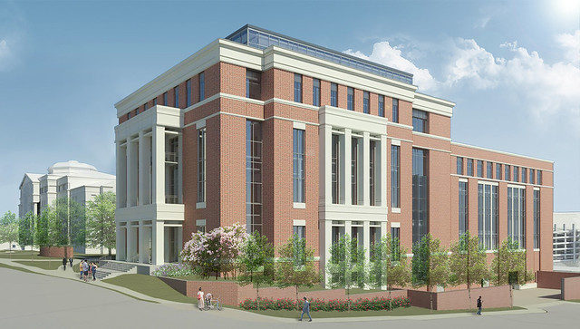 An artist's rendering shows a new building that will be part of the Raymond J. Harbert College of Business.