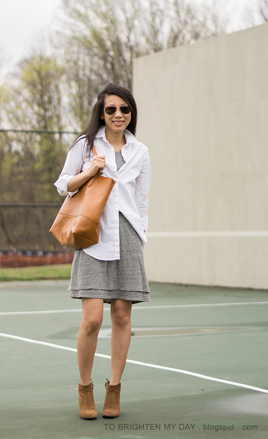white button up dress shirt, gray tank tiered dress, cognac brown tote, brown suede ankle boots