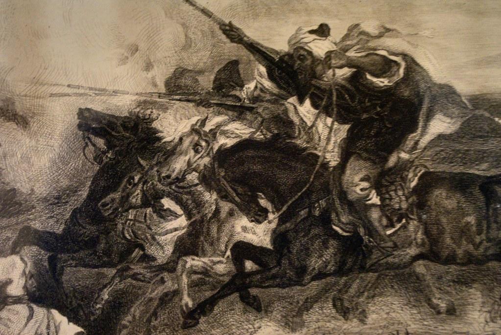 Charge de la cavalerie marocaine sur une gravure de la Delacroix.