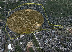 Avericum, Bourges, France. 1 kilometer diameter. 4K wall in yellow.