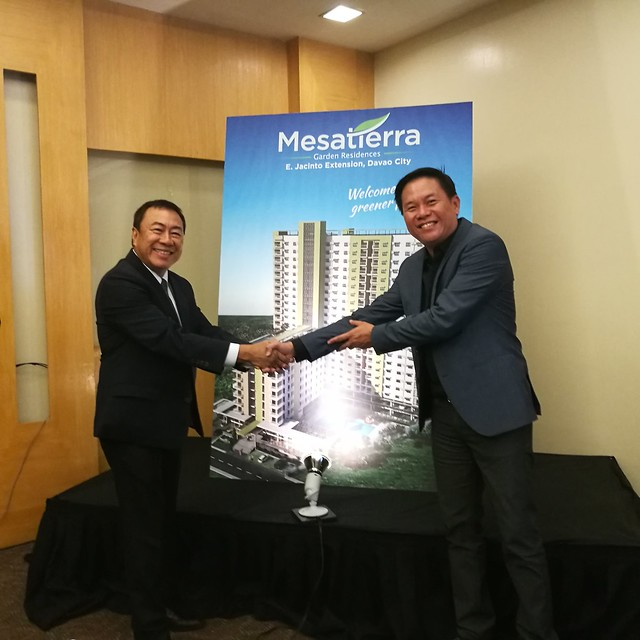 DavaoLife.com | Jose Soberano III CEO of CebuLandmasters Inc & Frederick Yuson CEO of Yuson Comm Investments in Yuson Excellence Soberano joint venture - Welcome Home at MesaTierra Garden Residences in Progressive Davao City