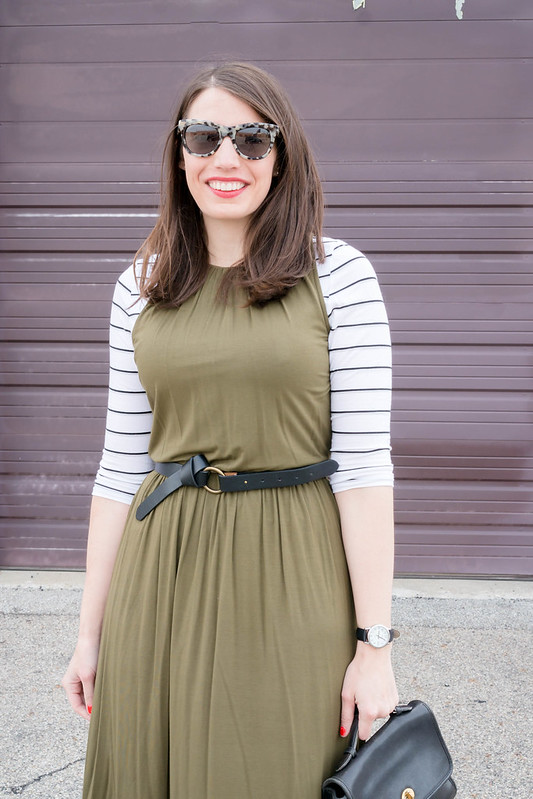olive green dress + white striped tee + black knot belt + black d'orsay heels; spring work outfit | Style On Target blog