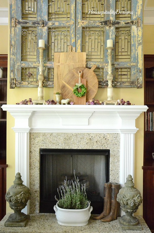 Spring Mantel-Breadboard-Dried Roses-Housepitality Designs