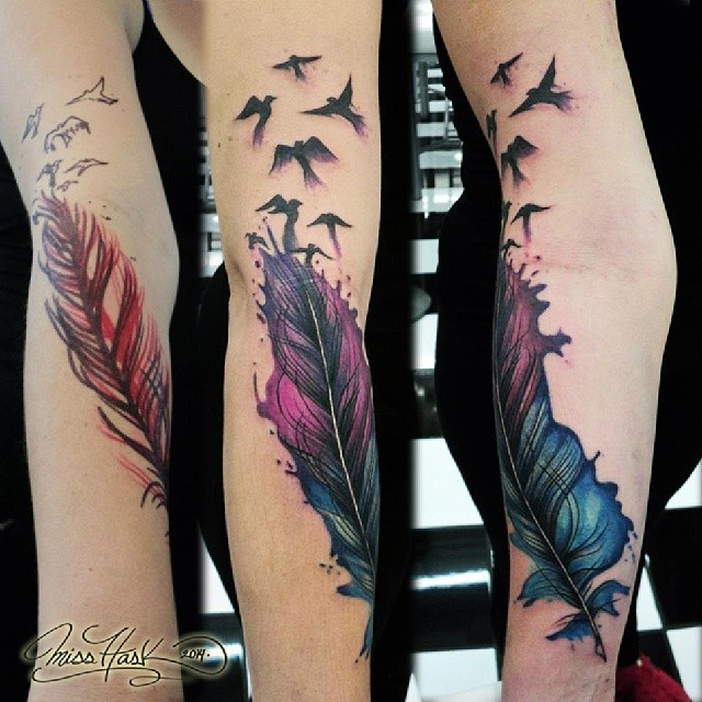 Feather Tattoo Designs On Hand