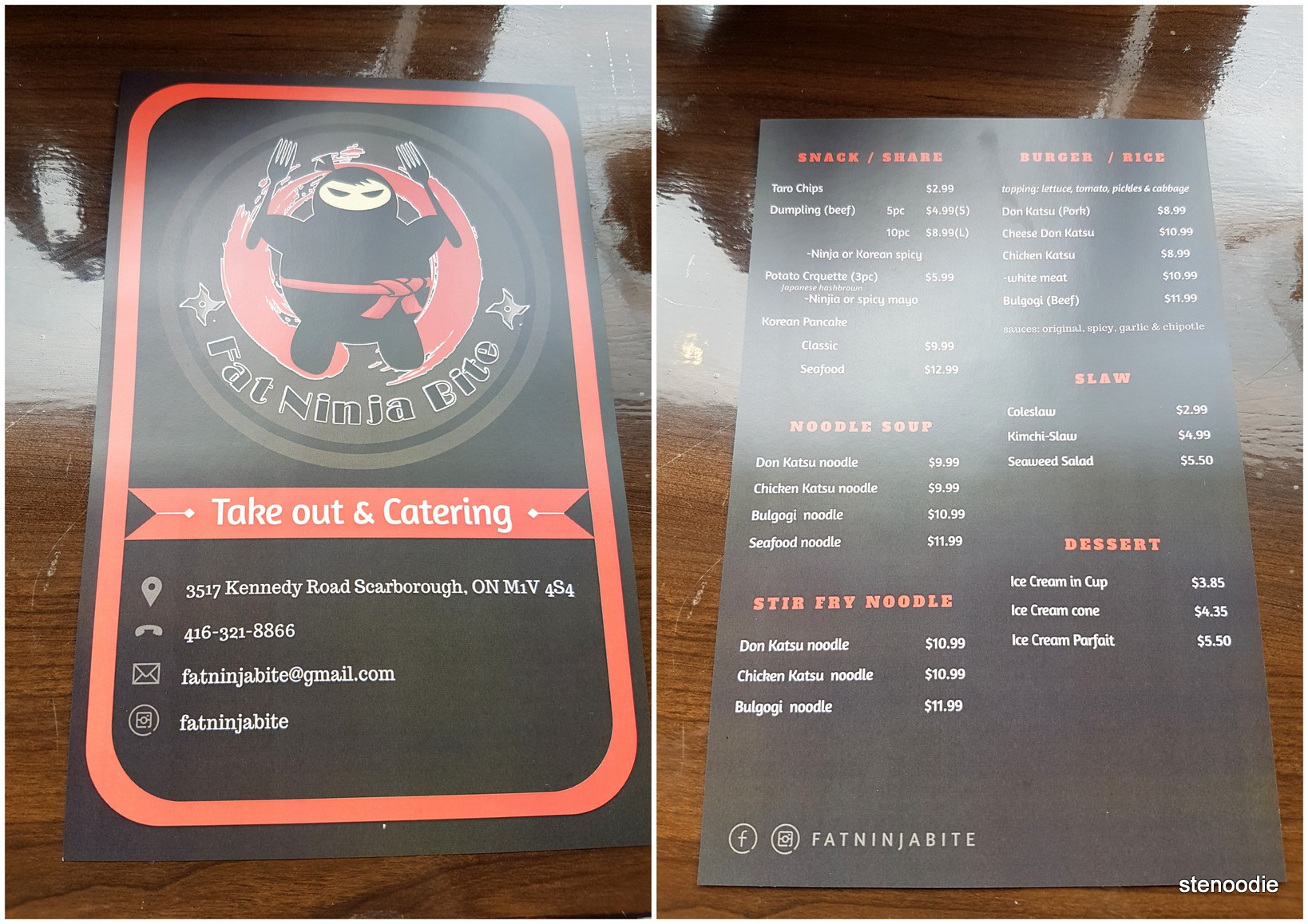 Fat Ninja Bite menu and catering