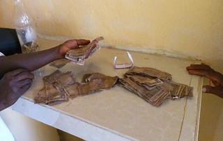 Ragged Liberia banknotes