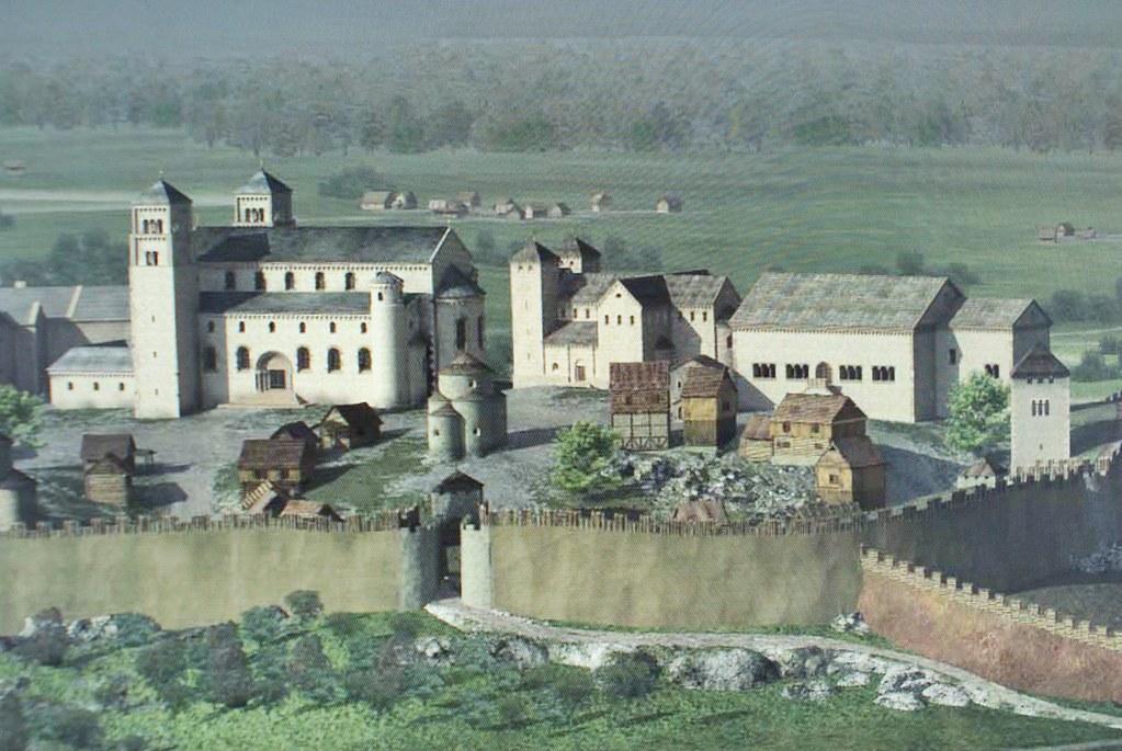 Représentation numérique des constructions sur la colline de Wawel à Cracovie au Moyen Age vers 1100 ? Musée d'histoire de Cracovie.
