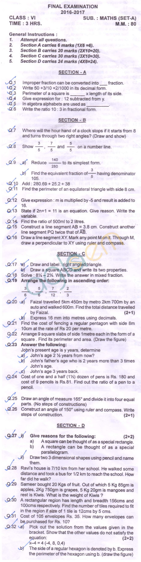 CBSE Class 6 SA2 Question Paper for Math – AglaSem Schools