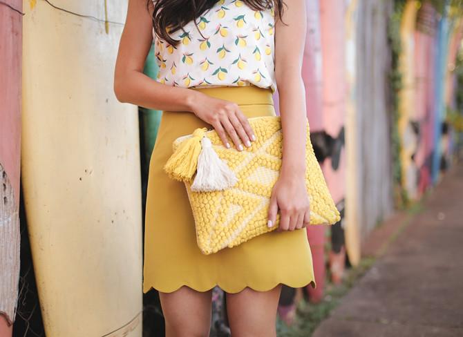 sole society tassel clutch asos scallop skirt petite fashion