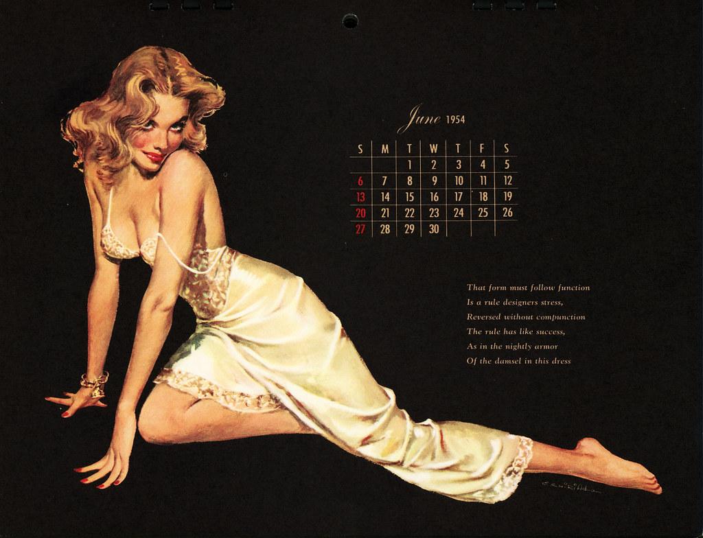 1954 Esquire Calendar - June | Esquire Magazine Calendar Jun ...
