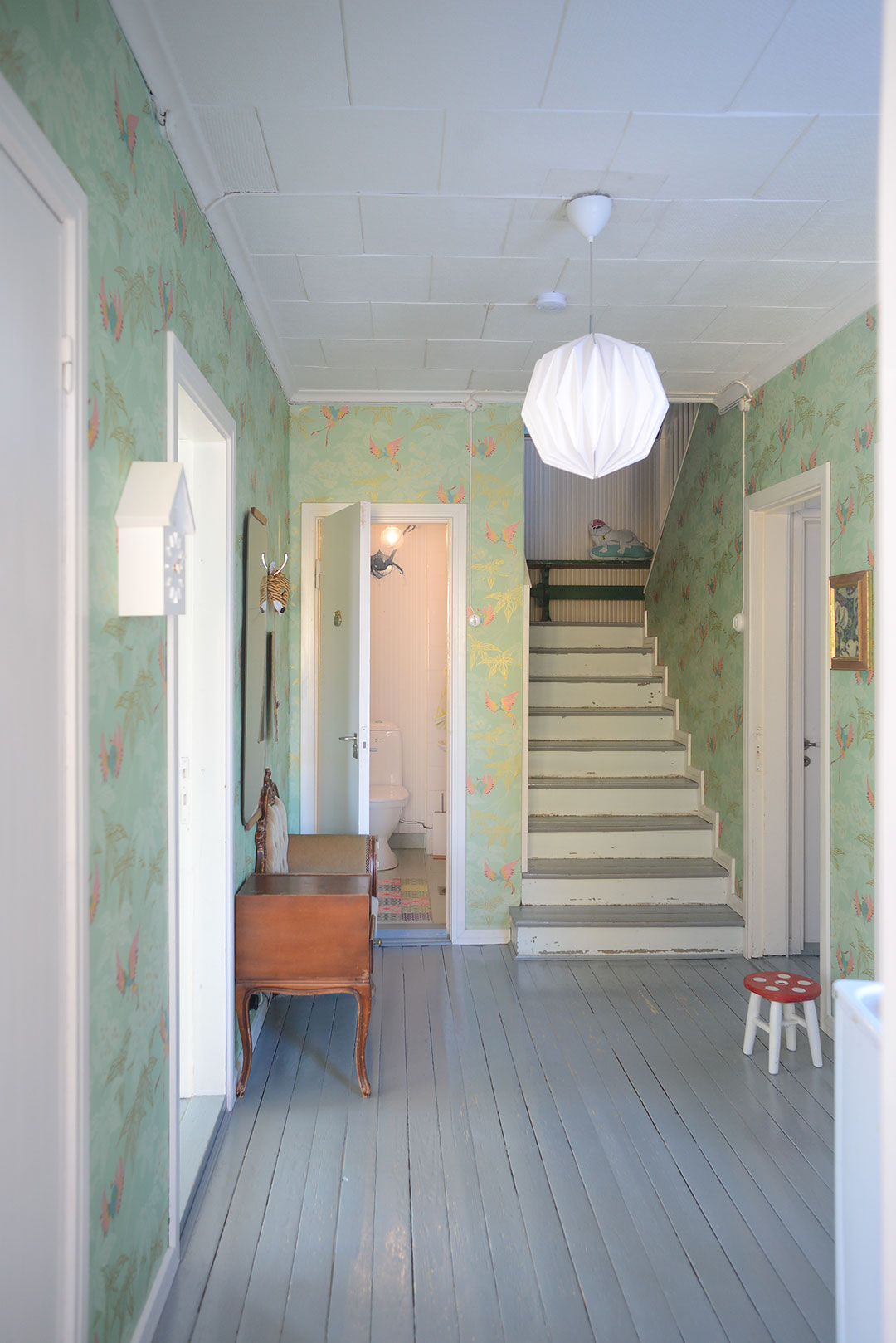 Pastel colored foyer