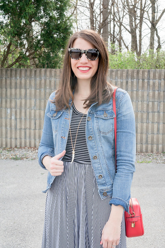 Old Navy black and white striped dress + jean jacket + J.Crew sunglasses + J.Crew red purse + Target tan d'orsay flats | Style On Target blog