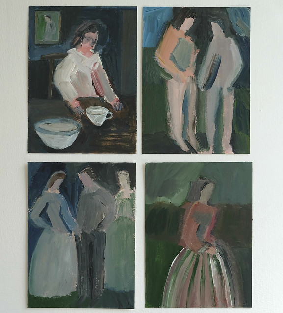 a quartet of smaller paintings
