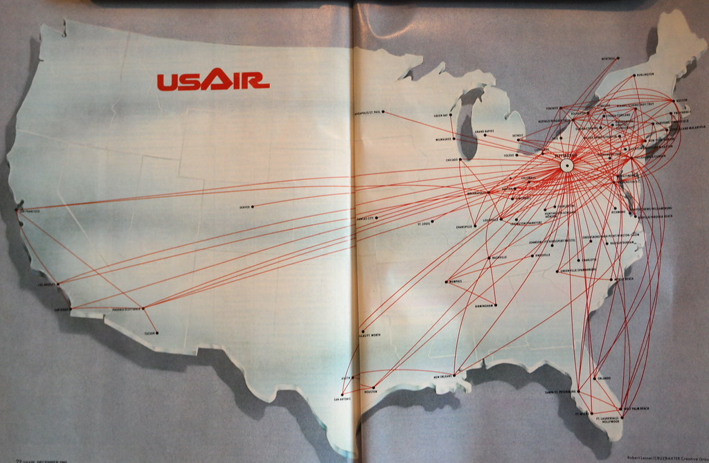 USAir Route Map Dec A USAir Route Map From December Flickr - Us airways direct flights map