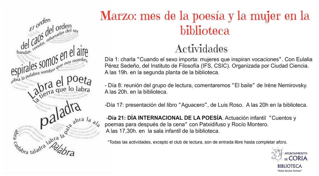 Marzo: mes de la poesía y la mujer en la biblioteca de Coria