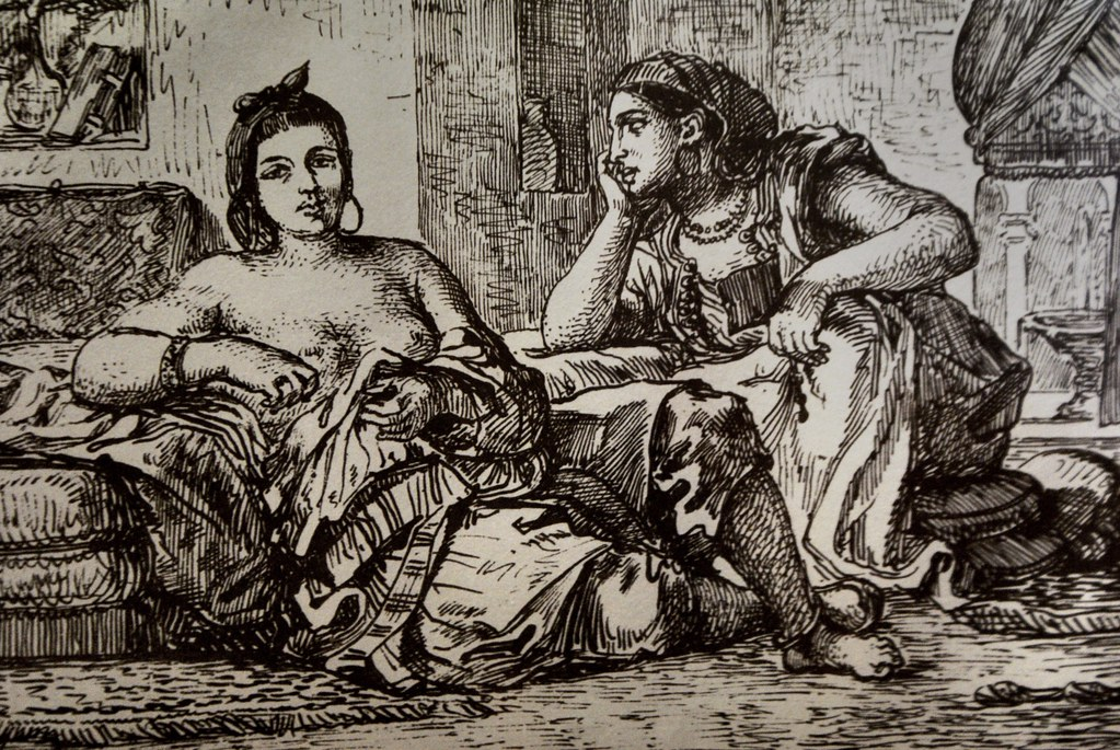 Gravure de la Delacroix réalisé lors de son voyage au Maroc dans le musée Mouassine de Marrakech.