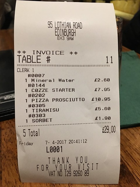 Edinburgh, Frizzante meal receipt