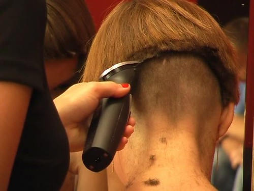 Brown Haired Girl Gets The Nape Short