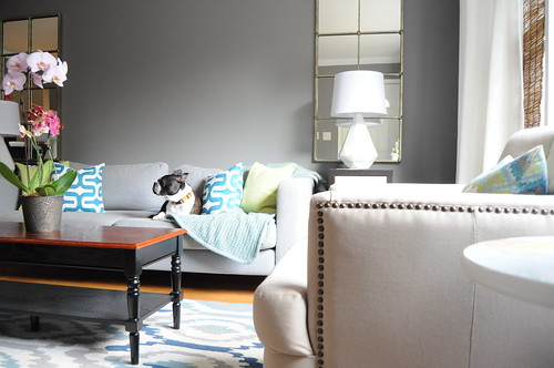 Gray Teal Lime Blue Living Room | by emily @ go haus go