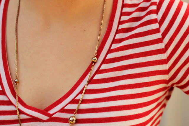 Striped Shirt and a Gold Necklace