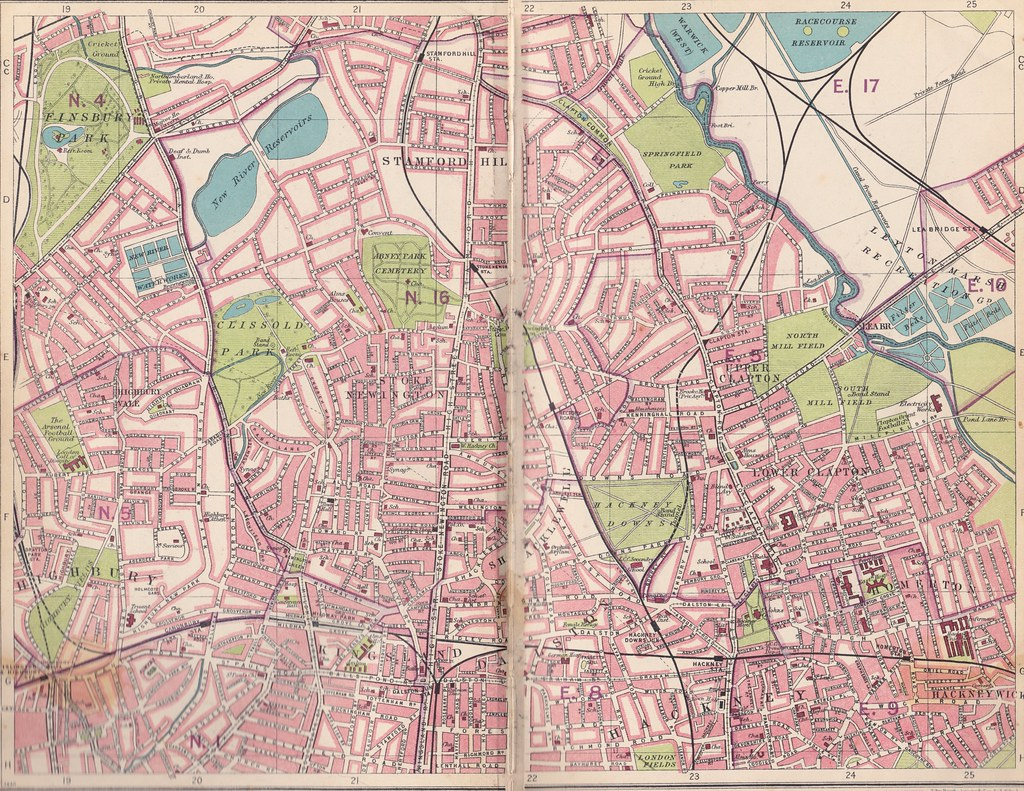 street map of north london stoke newington hackney clapton c1930 by