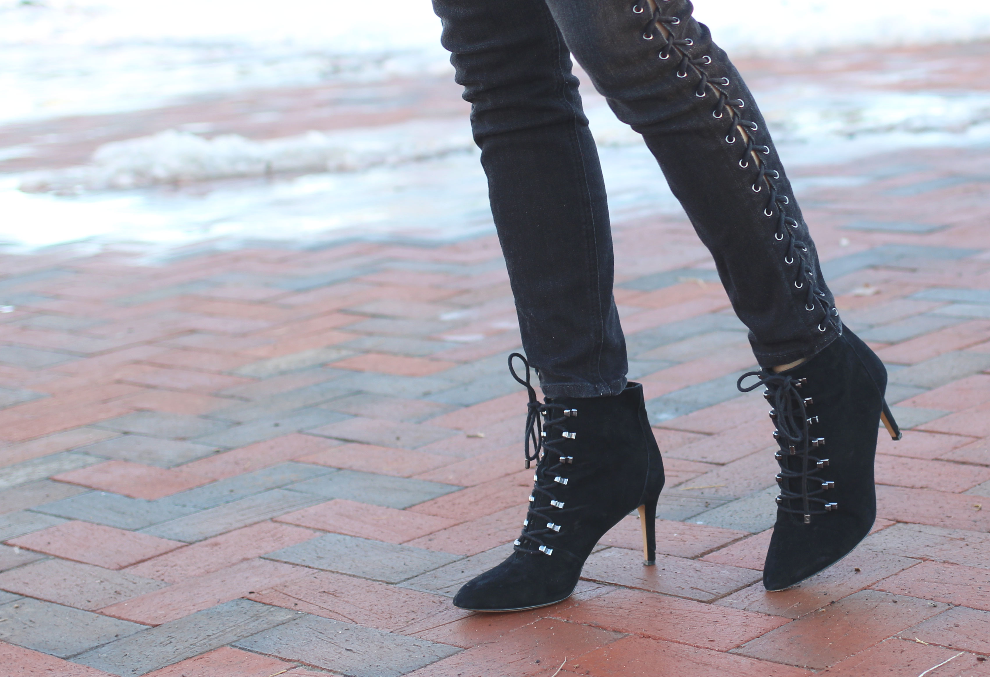 Nine West lace up stiletto ankle boots