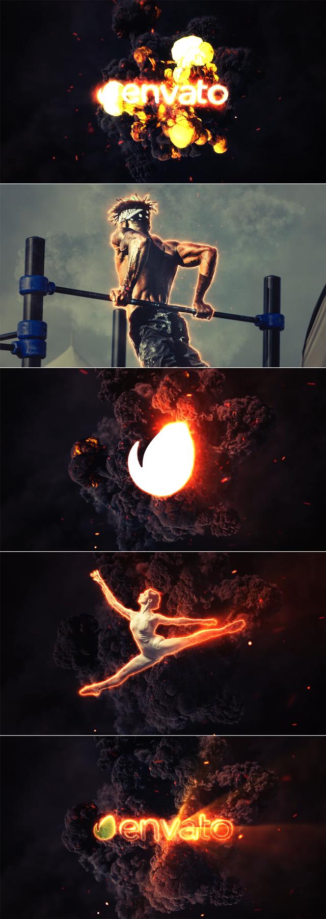 AE模板 大气震撼火焰燃烧爆炸背景logo动画 Videohive Fire Explosion Logo & Photo Animation免费下载