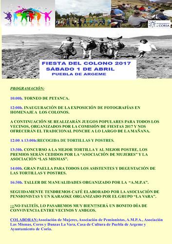 Puebla de Argeme celebrará la Fiesta del Colono este sábado 1 de abril