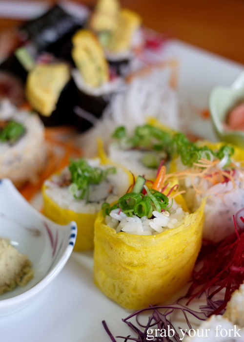 Vegetable sushi wrapped in omelette at Masaaki's Sushi in Geeveston, Tasmania