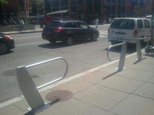 Design forward bike parking at the northwest corner of 13th and U Streets NW, Washington, DC