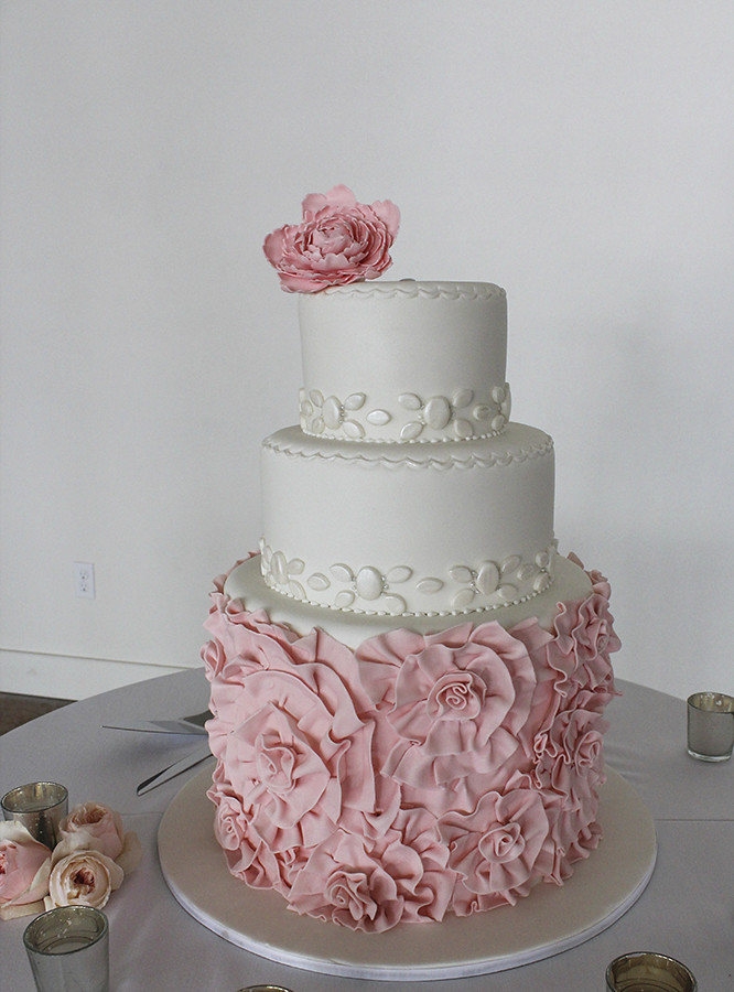 red wedding cake pictures pink ruffled fondant rosettes wedding cake wedding cake 19169