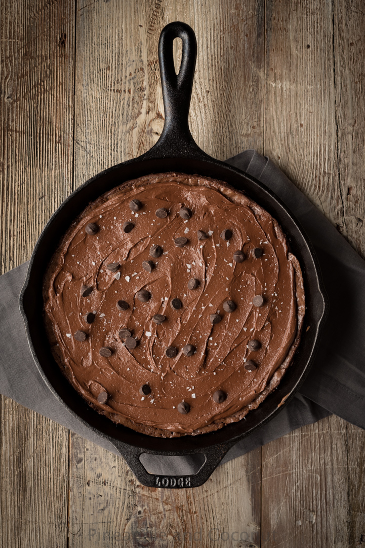 Guinness Stout Skillet Brownies with Salted Chocolate Guinness Frosting www.pineappleandcoconut.com #AD #DiscoverWorldMarket #WorldMarketTribe