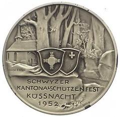 1952 Switzerland Schwyzer Kontanal Schutzenfest Medal reverse