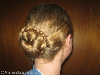 Finished Braided Bun - 12 Hiking Hairstyles that are Pretty & Practical