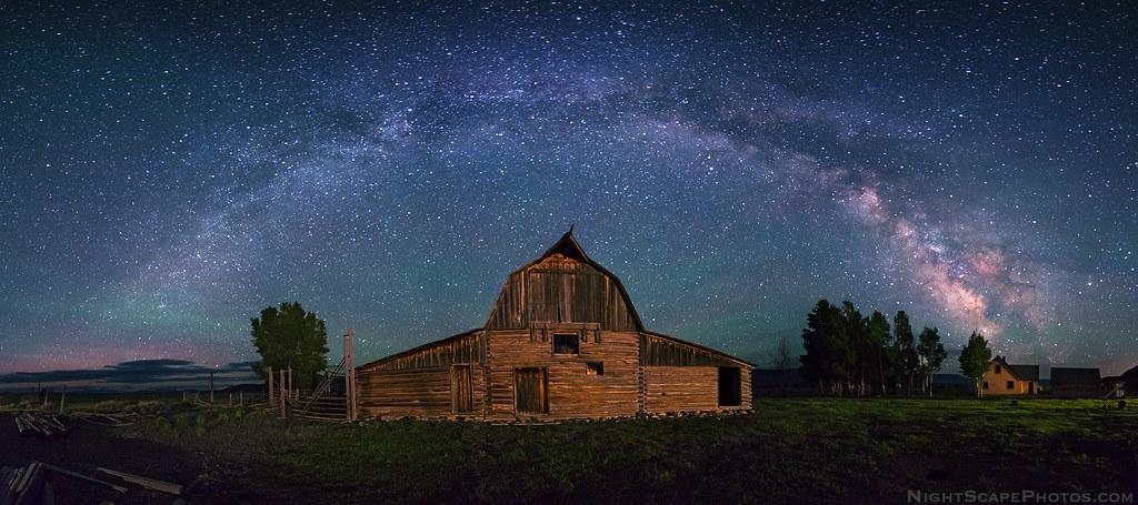 milky way panorama over moulton barn