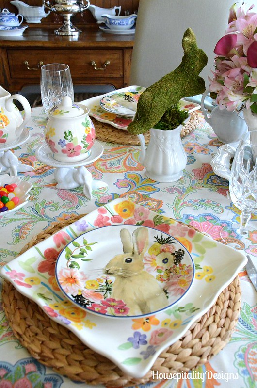 Easter Tablescape-Pottery Barn Bunny Plates-Housepitality Designs