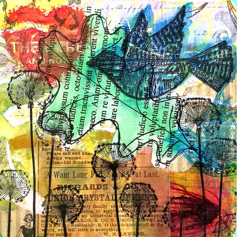 Mixed media notecard