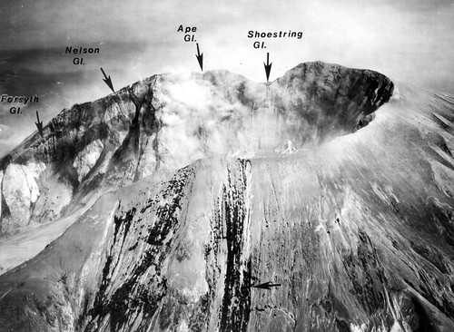 Black and white image shows the truncated summit of Mount St. Helens, with the notch in the north rim to the left. Notations and arrows point to the former locations of Forsyth, Nelson, Ape, and Shoestring glaciers along the rim.
