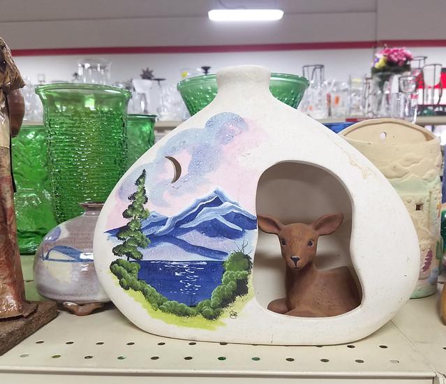 deer in a vase