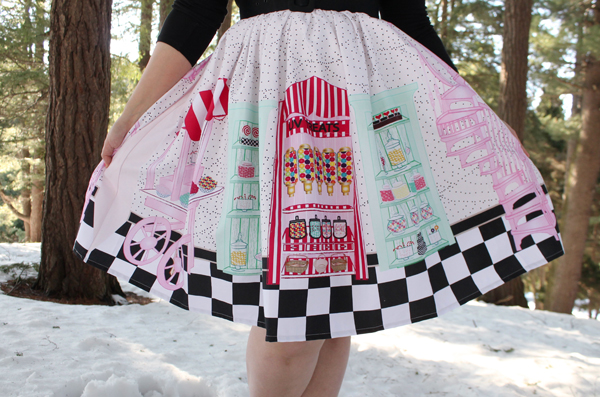 candy shop novelty print skirt