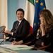 Renzi e Madia in conferenza stampa al termine del Consiglio dei Ministri n. 15