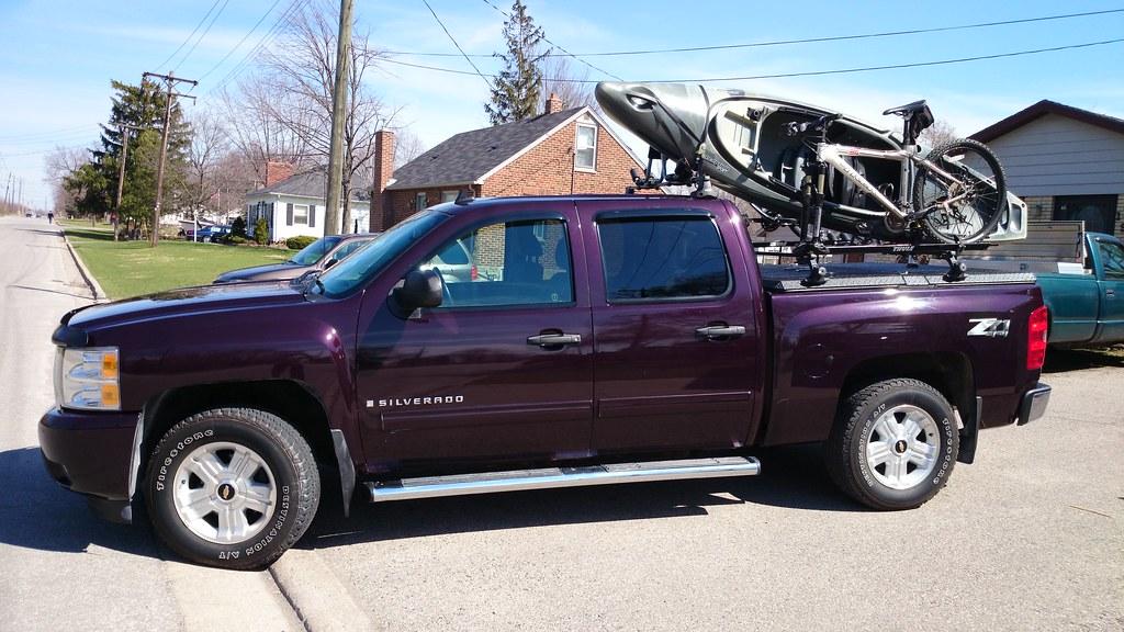 Kayak Amp Bicycle On Thule Rack On DiamondBack Truck Cover O