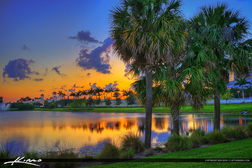 Palm Beach Gardens Sunset At City Lake Sunset Over The