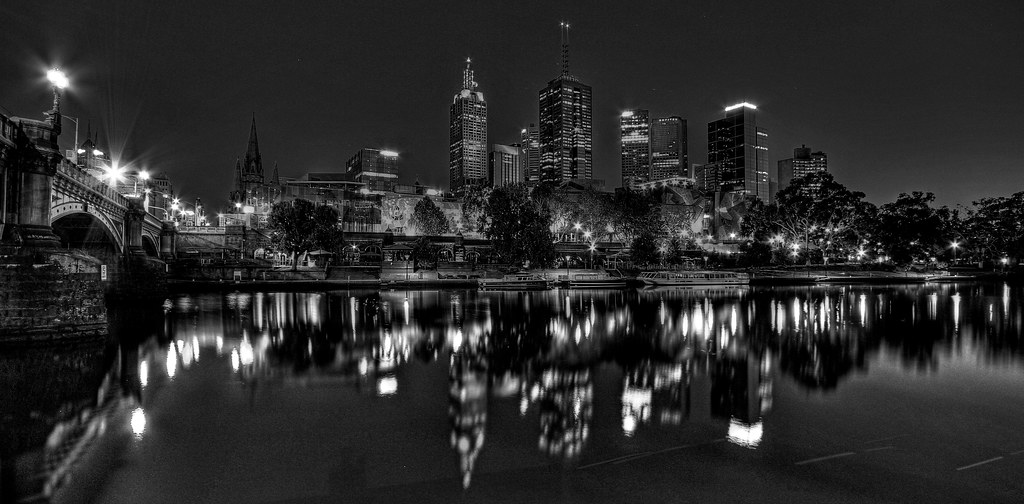 Melbourne city reflections bw by daveflker