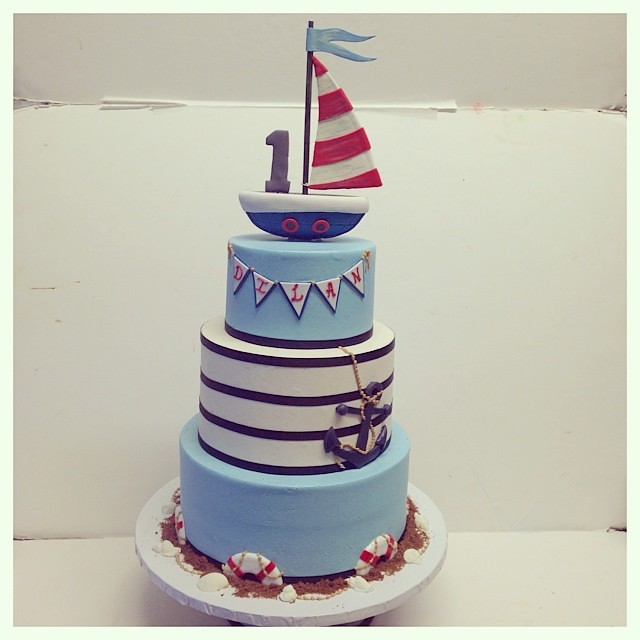 Nautical First Birthday Cake Polkadotscupcakefactory Flickr