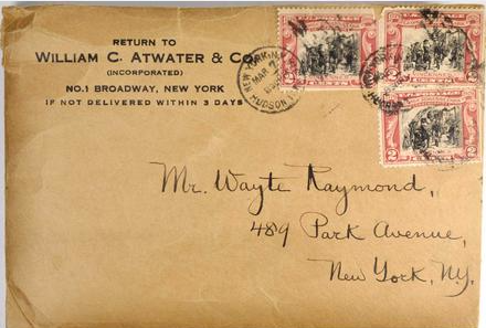 Atwater letter to Raymond on Stickney 1804 dollar